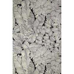 Fekete levél-virág mintás tapéta