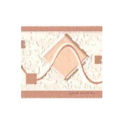 Beige-barna hullám -négyzet mintás bordűr