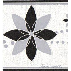 Fekete-fehér virág mintás bordűr