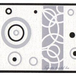 Fekete-fehér kör mintás bordűr
