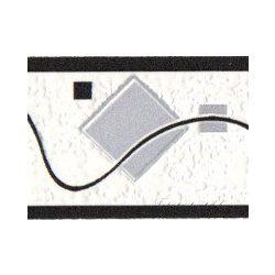 Fekete-fehér hullám -négyzet mintás bordűr