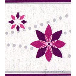 Lila-pink virág mintás bordűr