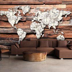 Fotótapéta - Map On Wood