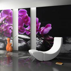 Fotótapéta - Relaxáló pillanat: orchidea virág és kövek