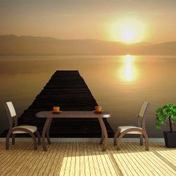 XXL Fotótapéta - jetty, lake, sunset...