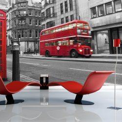 Fotótapéta - Piros busz és telefonfülke Londonban
