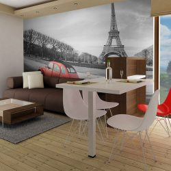 Fotótapéta - Eiffel-torony és a piros autó