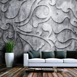 Fotótapéta - Ezüst háttér virágmintás