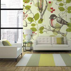 Fotótapéta - Bird és liliomok vintage minta