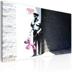 Kép - Police guard and pink balloon dog (Banksy)
