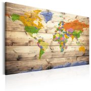 Kép - Map on wood: Colourful Travels