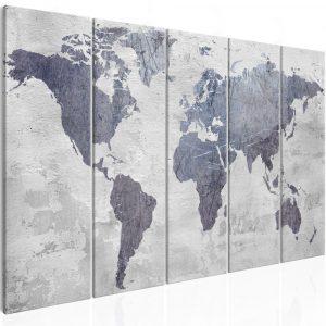 Kép - Concrete World Map (5 Parts) Narrow