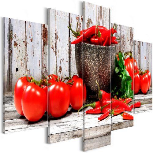 Kép - Red Vegetables (5 Parts) Wood Wide