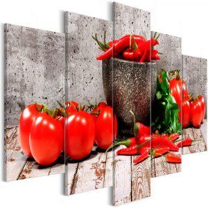 Kép - Red Vegetables (5 Parts) Concrete Wide