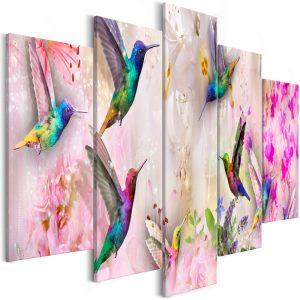 Kép - Colourful Hummingbirds (5 Parts) Wide Pink