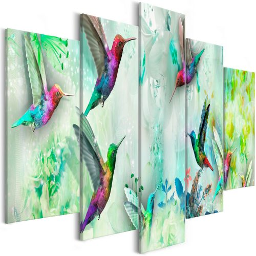 Kép - Colourful Hummingbirds (5 Parts) Wide Green