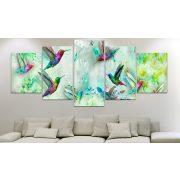 Kép - Colourful Hummingbirds (5 Parts) Wide Green
