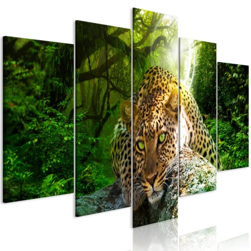 Kép - Leopard Lying (5 Parts) Wide Green
