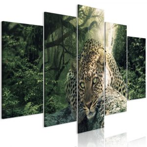 Kép - Leopard Lying (5 Parts) Wide Pale Green