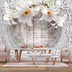 Fotótapéta - Lilies and Wooden Background