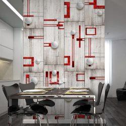 Fotótapéta - Concrete, red frames and white knobs