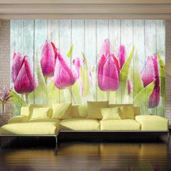 Fotótapéta - Tulips on white wood