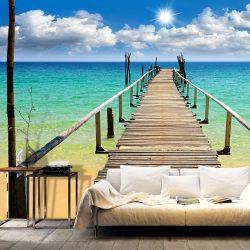 Fotótapéta - Beach, sun, bridge