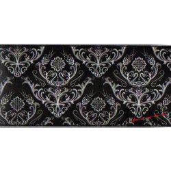 Fekete-fehér barokk mintás  öntapadó bordűr