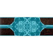 Barna-türkiz kék barokk  mintás öntapadós bordűr