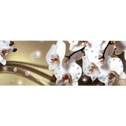Fehér orchidea barna hullám mintán öntapadós bordűr