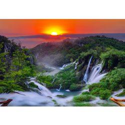 Vízesés és naplemente fotótapéta több méretben, alapanyagban