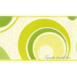 Zöld-mustár körök fehér alapon bordűr