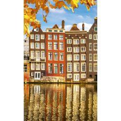 HOUSES IN AMSTERDAM fotótapéta, poszter, vlies alapanyag, 150x250 cm
