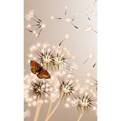 DANDELIONS AND BUTTERFLY fotótapéta, poszter, vlies alapanyag, 150x250 cm