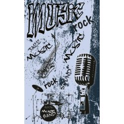 MUSIC BLUE fotótapéta, poszter, vlies alapanyag, 150x250 cm