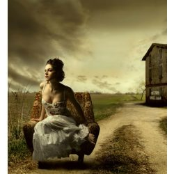 GIRL ON ARMCHAIR fotótapéta, poszter, vlies alapanyag, 225x250 cm