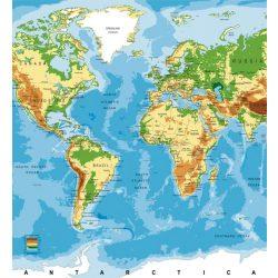 WORLD MAP fotótapéta, poszter, vlies alapanyag, 225x250 cm