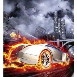 CAR IN FLAMES fotótapéta, poszter, vlies alapanyag, 225x250 cm