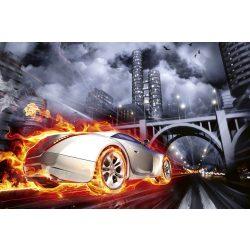 CAR IN FLAMES fotótapéta, poszter, vlies alapanyag, 375x250 cm