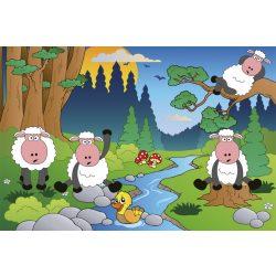 SHEEP IN FOREST fotótapéta, poszter, vlies alapanyag, 375x250 cm