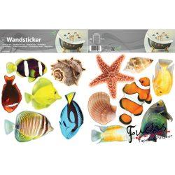 Tengeri kagylók és halak matrica falra, csempére, bútorra