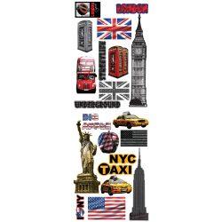 New York és London matrica falra, csempére, bútorra