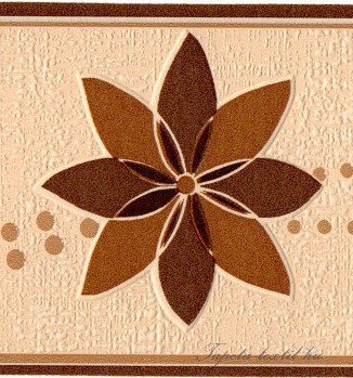 Beige -sötétbarna virág mintás bordűr