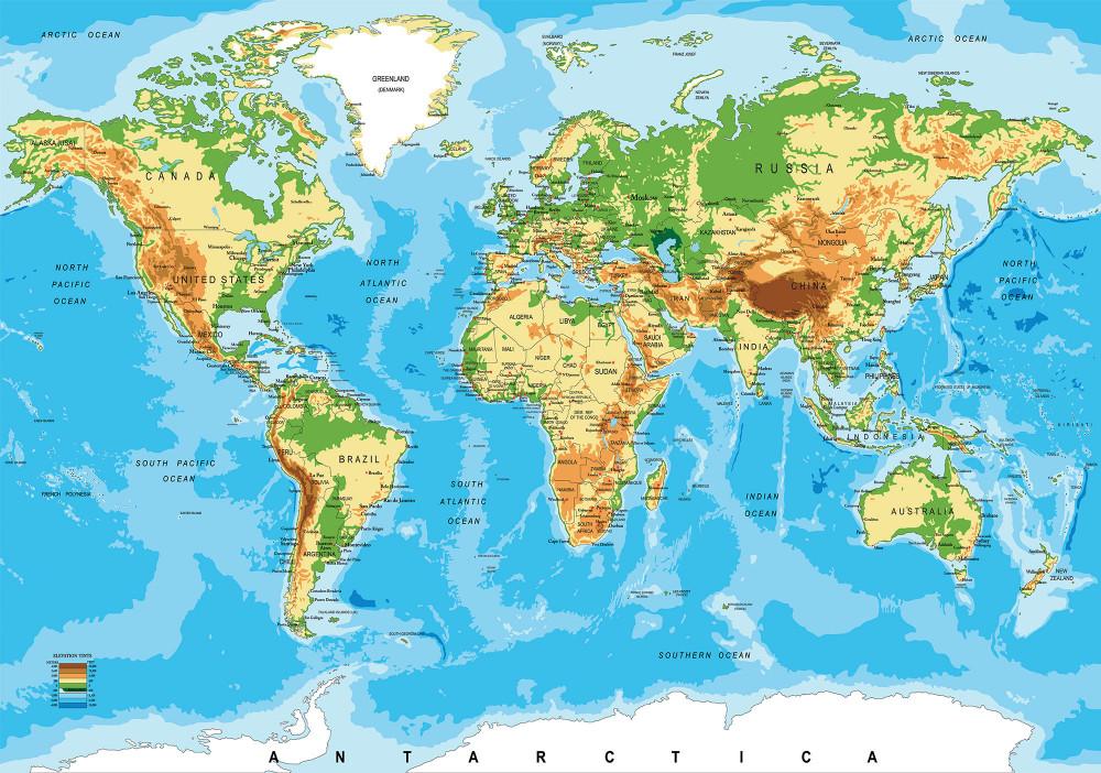 Világ térkép poszter, fotótapéta, Vlies (416 x 290 cm)
