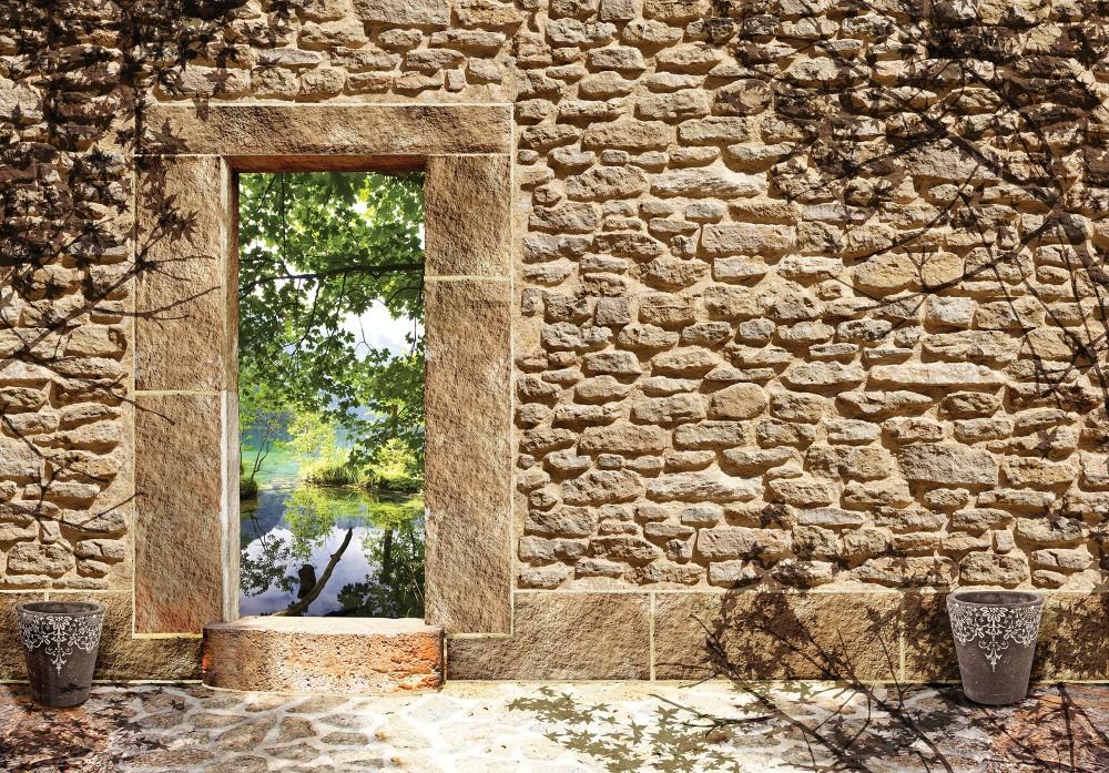 Kőfal tóra néző ablakkal poszter, fotótapéta (368 x 254 cm)