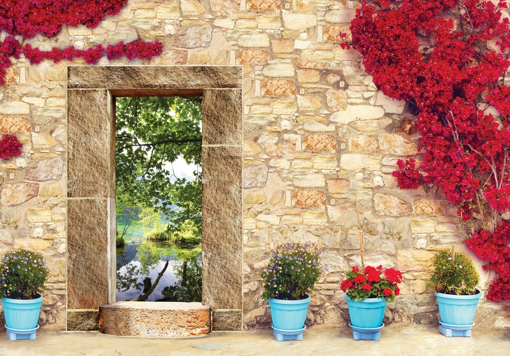Kőfal tóra néző ablakkal poszter, fotótapéta Vlies (312 x 219 cm)