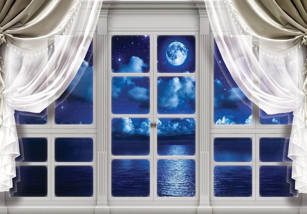 Éjszaka az ablakon át poszter, fotótapéta (256 x 184 cm)