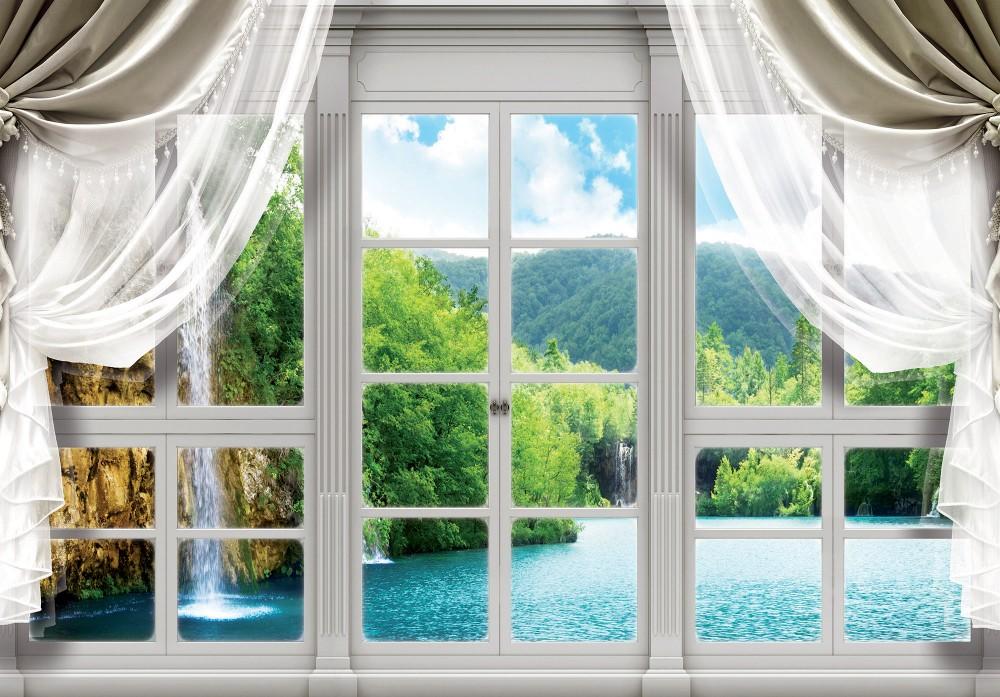 Vízesés az ablakon át poszter, fotótapéta, Vlies (104 x 70,5 cm)