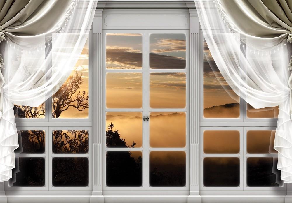Naplementére néző ablak poszter, fotótapéta (368 x 254 cm)