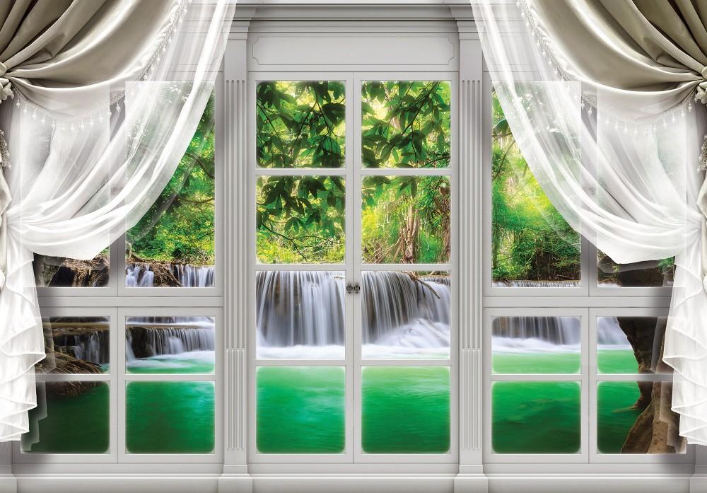 Vízesésre néző ablak poszter, fotótapéta (368 x 254 cm)